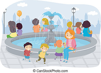 Family Fountain - Illustration of Kids Playing Around The...
