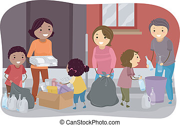 Family Waste Segregation - Illustration of Families...