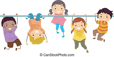 Monkey Bar - Illustration of a Group of Kids Playing with...