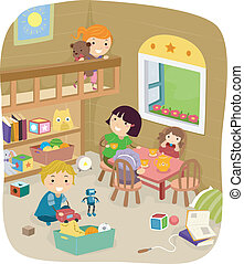 Play Room - Illustration of a Group of Kids Playing in the...
