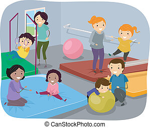 Family Gym - Illustration of Kids Enjoying a Day at the Gym...