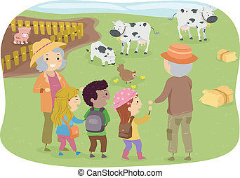 Family Farm - Illustration of a Group of Kids Touring a Farm...
