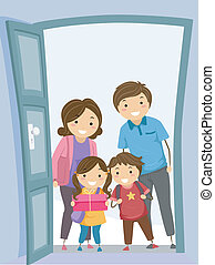 Family Visit - Illustration of a Family Visiting Another...