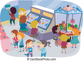 Arcade Kids - Illustration of Kids Enjoying a Day at the...