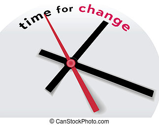 Clock hands tell Time for a change - Hands of clock point to...