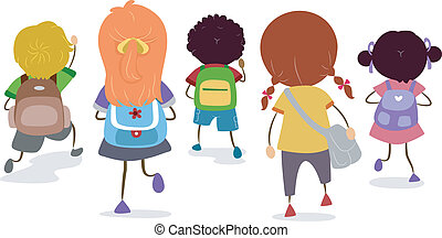 School Bags - Illustration of a Group of Kids Sporting...