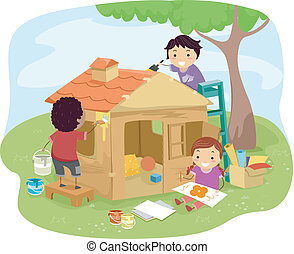 Play House Kids - Illustration of Kids Building a Play House...
