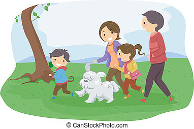 Family Dog - Illustration of a Family Taking Their Dog for a...