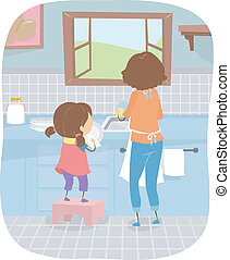Dishwashing Time - Illustration of a Little Girl Helping Her...