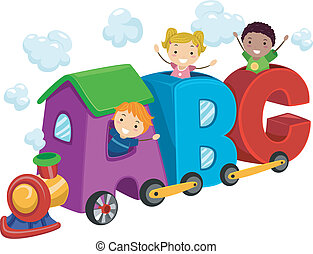Alphabet Train - Illustration of Kids Riding in Train...