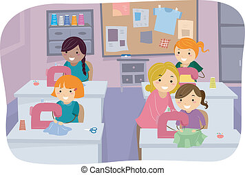 Sewing Class Girls - Illustration of Little Girls Learning...