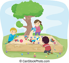 Sand Box Kids - Illustration of Kids Playing Around the...