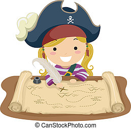 Pirate Girl Map - Illustration of a Little Girl Dressed in a...