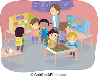 Science Fair Kids - Illustration of Kids Displaying Their...