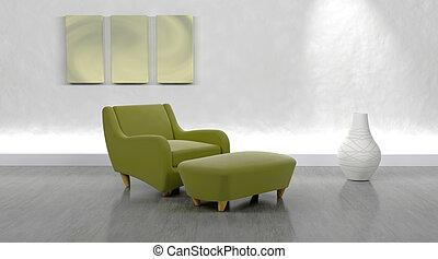 contemporâneo, braço, cadeira