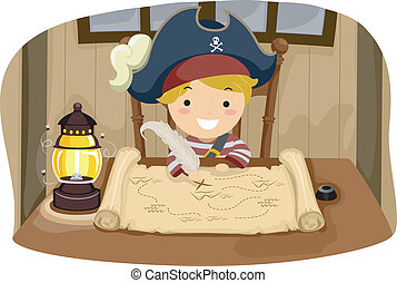 Pirate Boy Map - Illustration of a Little Boy Dressed in a...