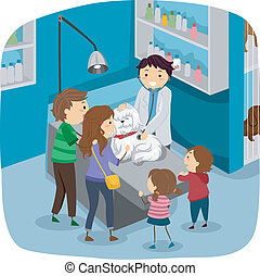 Dog Checkup - Illustration of a Family Taking Their Dog to...