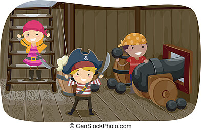 Pirate Cannon - Illustration of Little Kids Preparing to...