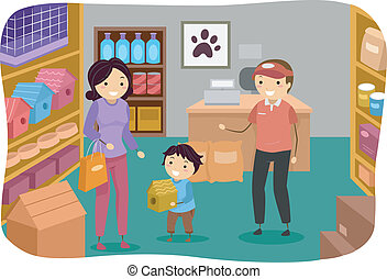 Pet Store Boy - Illustration of a Little Boy and His Mom...