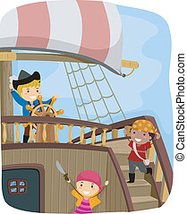 Pirate Ship - Illustration of Kids Dressed in Pirate...