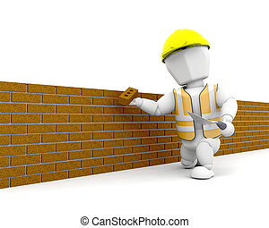 Brick Layer - 3D render of a person building a brick wall