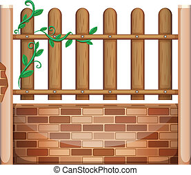 A fence made of bricks and woods - Illustration of a fence...