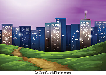 A city with tall buildings - Illustration of a city with...