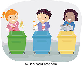 Waste Segregation Kids - Illustration of Kids Segregating...