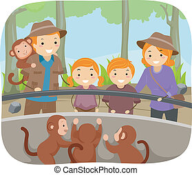 Zoo Monkeys - Illustration of a Family Checking Out the...