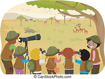 Class Field Trip Safari - Illustration of Kids in the Middle...