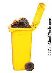 Overflowing yellow recycling bin, clipping path. -...