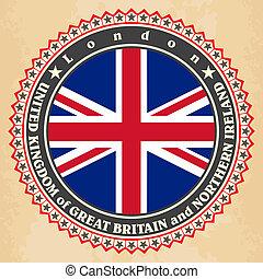 Vintage label cards of United Kingdom flag Vector