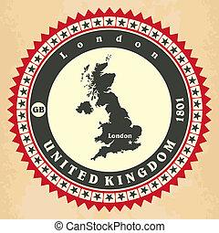 Vintage label-sticker cards of United Kingdom Vector...
