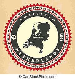 Vintage label-sticker cards of Netherlands. Vector...