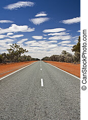 road in outback Australia - long straight road in outback...