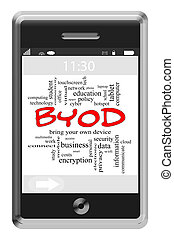 BYOD Word Cloud Concept on Touchscreen Phone - BYOD Word...