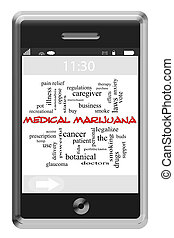 Medical Marijuana Word Cloud Concept on Touchscreen Phone -...
