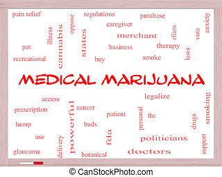 Medical Marijuana Word Cloud Concept on a Whiteboard with...