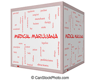 Medical Marijuana Word Cloud Concept on a 3D cube Whiteboard...