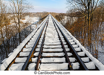 Snowy Railway Trestle - Indiana's Tulip Trestle, one of the...