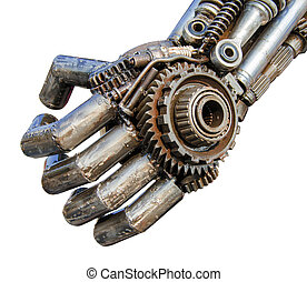 Hand of Metallic cyber or robot made from Mechanical...