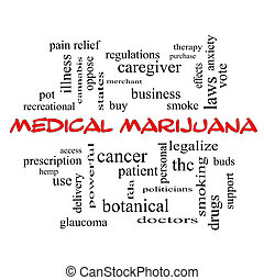 Medical Marijuana Word Cloud Concept in red caps with great...