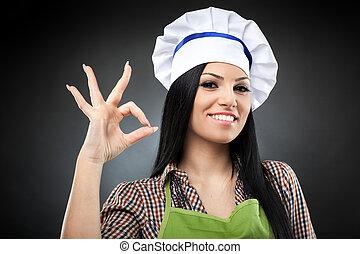 hispânico, mulher, cozinheiro, fazer, ok, sinal