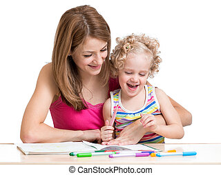 Mom and child painting together