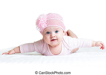 cute baby girl weared in pink cap