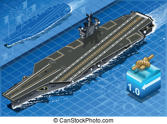 Isometric Aircraft Carrier in Navigation in Front View -...