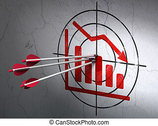 News concept: arrows in Decline Graph target on wall background