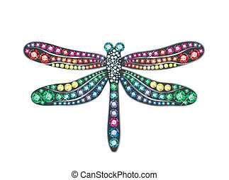 Gem Dragonfly - dragonfly made of colored gems