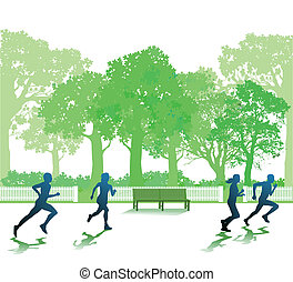 Running people in the park