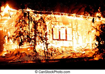casa, fogo